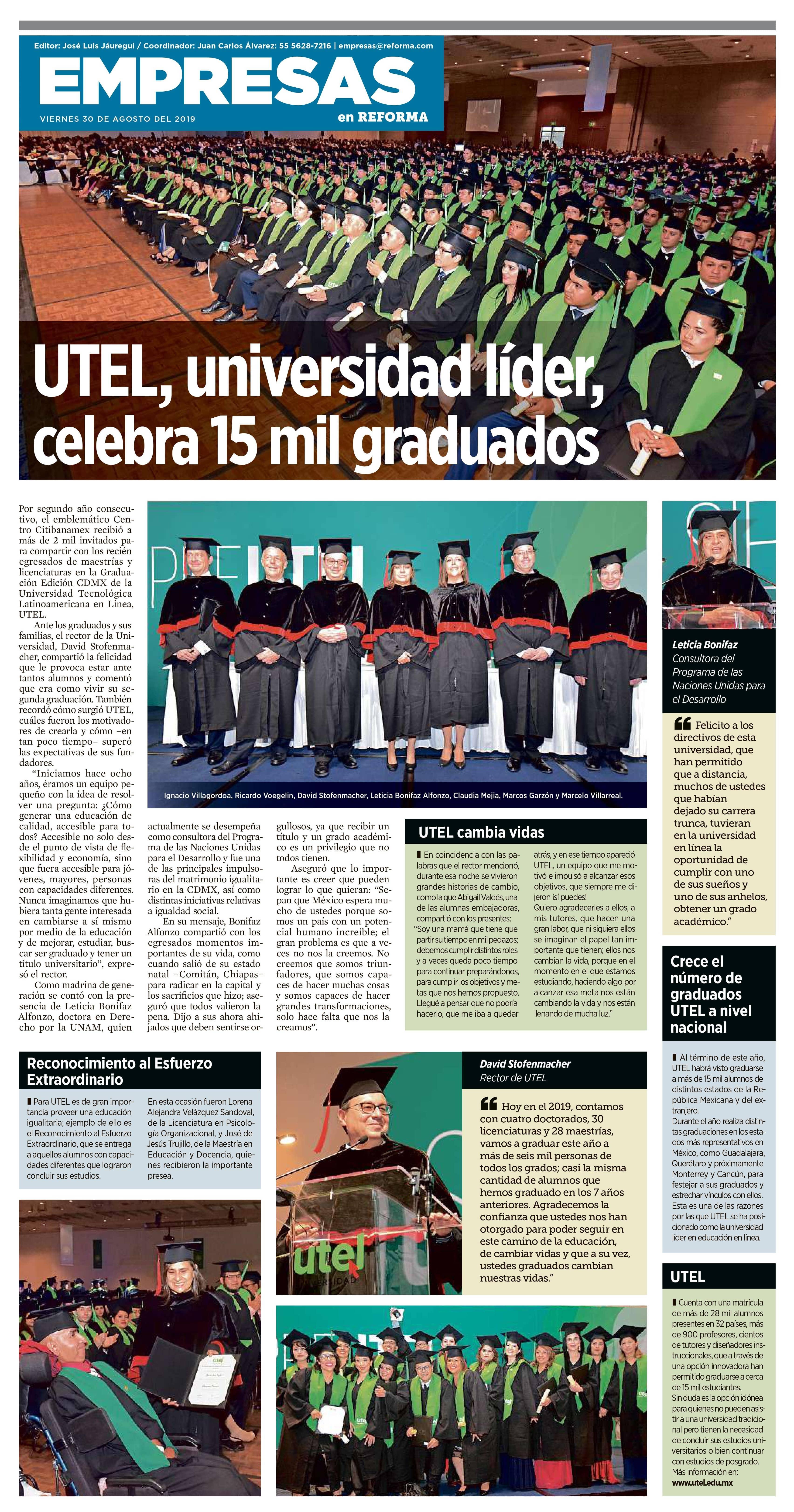 Graduación UTEL encabeza plana del Periódico Reforma